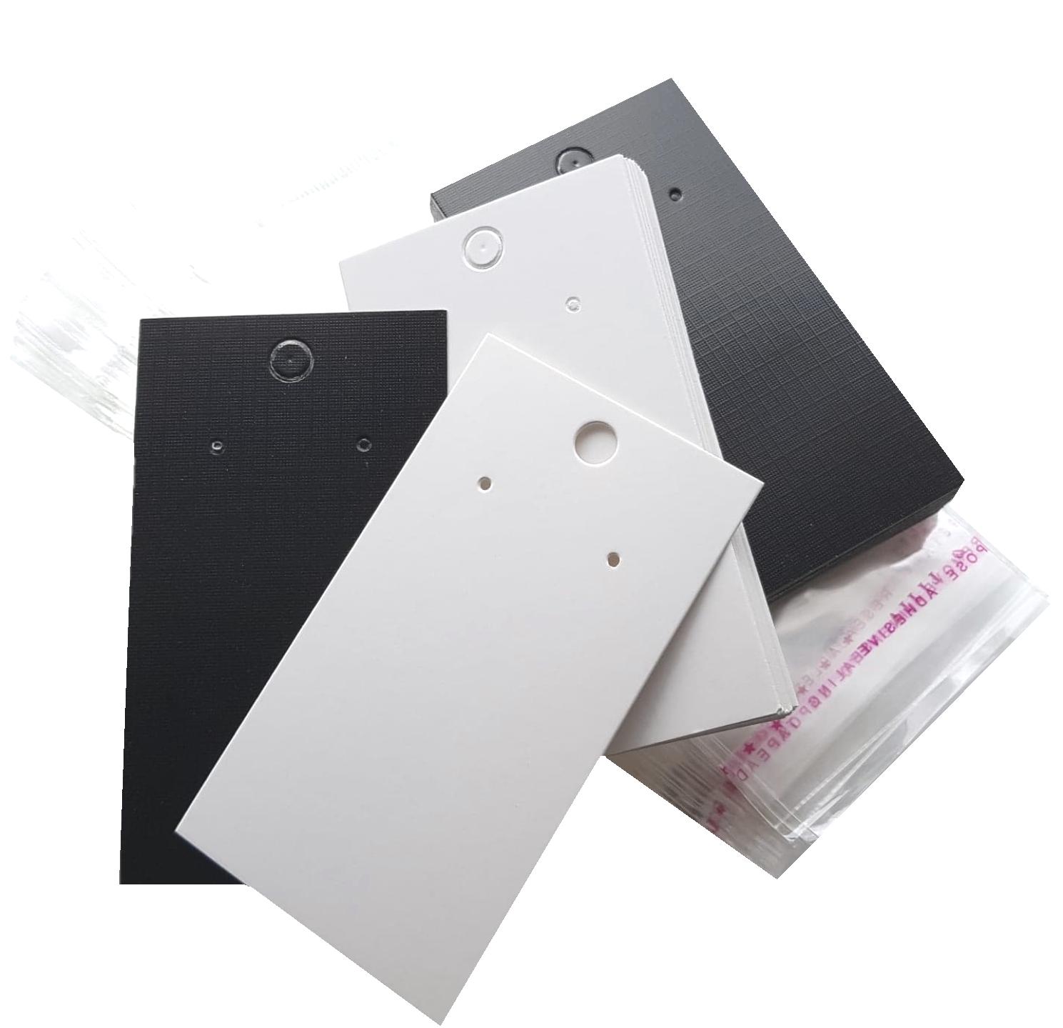 Jewellery - Jewellery Display Cards Earring Black Lattice/Plain White & Self Adhesive Bags