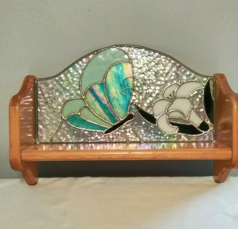 Wood Wall Shelf Stained Glass Flower Butterfly 16""