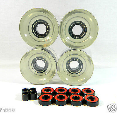 Blank 70mm Longboard Cruiser Multi Clear Color Wheels + ABEC 7 Bearing + Spacers on Rummage