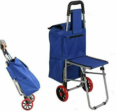 Vilobos Folding Shopping Cart Rolling Grocery Laundry Travel Trolley Stool Seat