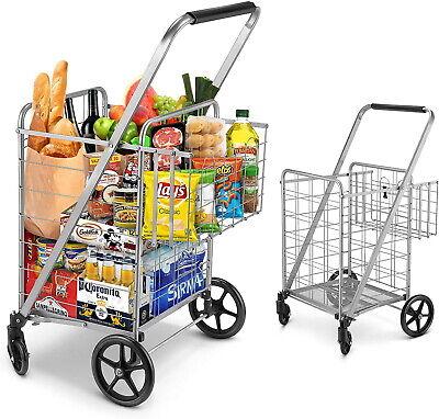 Newly Released Grocery Utility Flat Folding Shopping Cartjumbo Double Basket