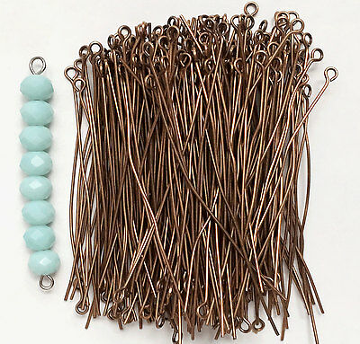 Bulk 200 pcs of Antique Copper Finished steel  Eyepins  60mm long 21 gauge thick