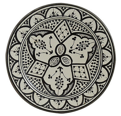 Moroccan Dinner Plate Salad Pasta Bowl Serving Handmade White Black 8 inches SM (White Pasta Plate)