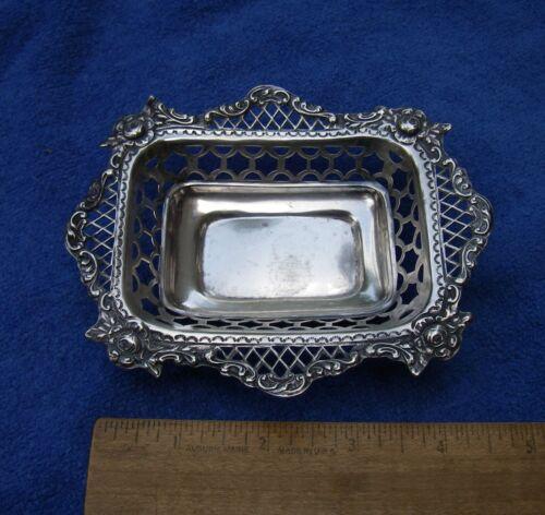 Good ENGLISH Sterling Pierced Small BASKET DISH-Wm COMYNS, London 1898-99