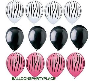 (12) LATEX BALLOONS SET pink black ZEBRA STRIPES print birthday party supplies