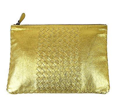 Gewebte Clutch-handtasche (Neu Authentisch Bottega Veneta Leder Gewebt Clutch Täschchen Handtasche, Gold,)