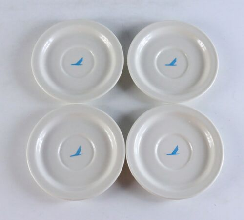 """Set of 4 Vintage PIEDMONT Airlines Mayer China First Class Saucier Plates 5.5"""""""