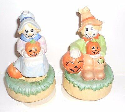 Vintage Halloween Scarecrows Lady & Guy Music Boxes w/ Pumpkins (Ceramic) Works