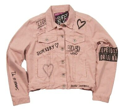 Superdry Women's Dusty Pink Printed Graphic Boyfriend Denim Button Front Jacket