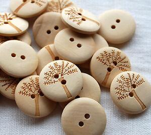 10 Zakka Funky Wood Sewing Buttons 2cm - Tree