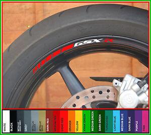 8 x SUZUKI GSXR 1000 750 600 SRAD Wheel Rim Stickers - Colour Choice - gsx r -r