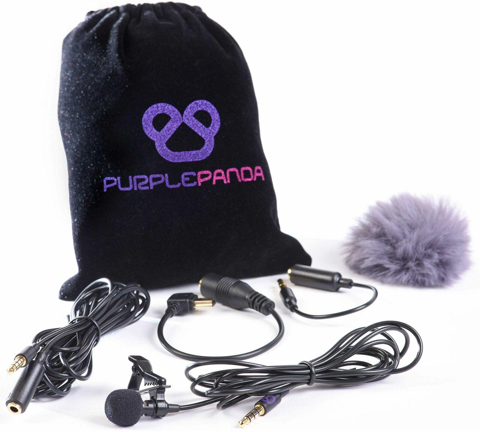 Purple Panda Lavalier Lapel Microphone Kit - Clip-on Omnidir