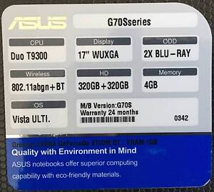 Asus G70 Gaming Laptop (Not Working) - Sale for Parts Armadale Stonnington Area Preview