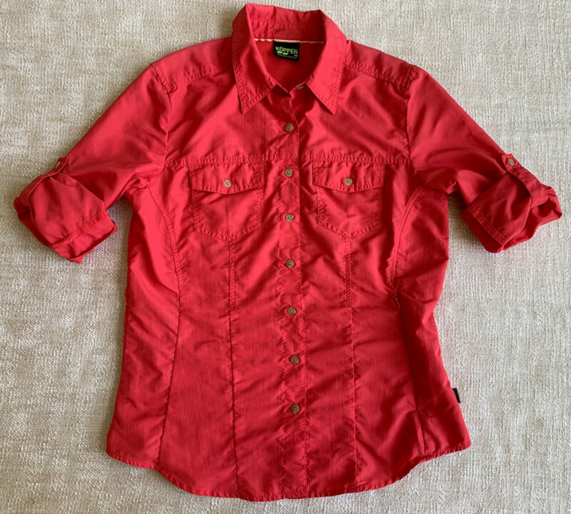 Koppen No Fly Zone Outdoor Shirt Sz M RollUp Long Sleeve Coral Pink Nylon Womens