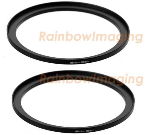 (2 Pack) 86mm-95mm 86 mm to 95 mm Metal Step Up Lens Filter Ring Adapter