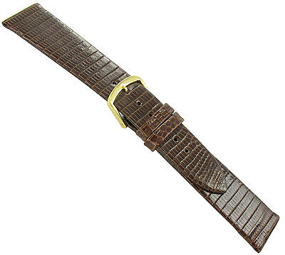 16mm T&C Genuine Lizard Brown Flat Mens Replacement Watch Band Strap L1 16 Mm Brown Lizard