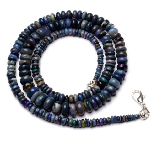 """Natural Gem Sugilite & Black Opal 3 to 9mm Smooth Rondelle Beads Necklace 21"""""""