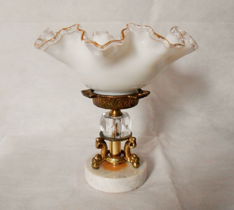 Vintage Fenton Crest, Crystal and Dolphin Bronze/Brass Centerpiece Bowl