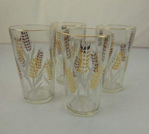 Vintage Gold Rimmed White and Gold Wheat Print Set of 4 Drinking Glasses