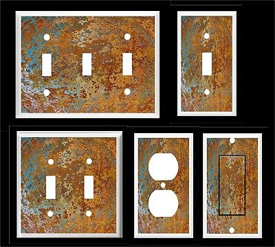 FAUX RUSTY METAL IMAGE # 2 LIGHT SWITCH COVER PLATE OR OUTLET HOME DECOR - Lightswitch Cover