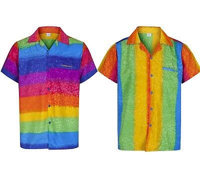 MENS HAWAIIAN SHIRT RAINBOW THEMED PARTY HOLIDAY BEACH FANCY DRESS STAG DO - Holiday Party Kostüm