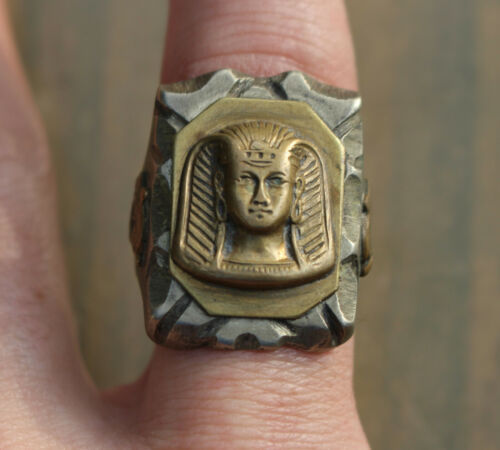 Vintage Mexican Biker Ring Egyptian Pharaoh King Tut Head Size 12 Motorcycle