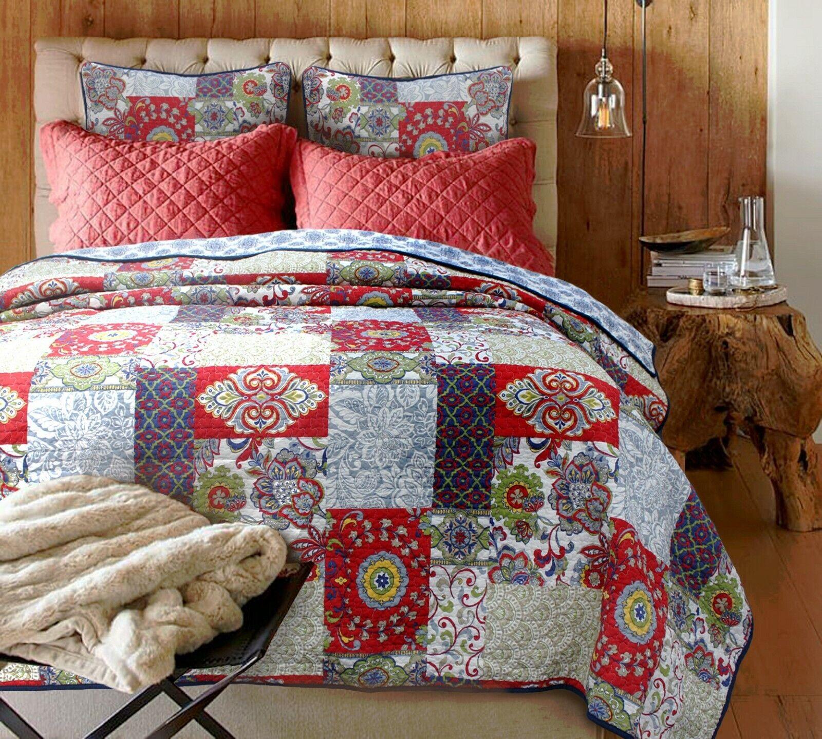 Vintage Garden Reversible Cotton Quilt Set, Bedspreads, Cove