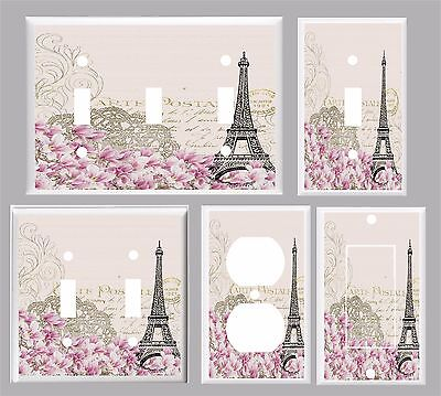 PARIS EIFFEL TOWER PINK FLORAL # 10  LIGHT SWITCH COVER PLATE  U PICK PLATE (Pink Eiffel Tower)
