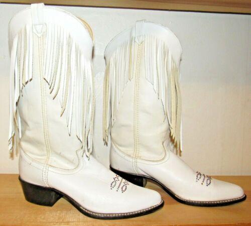 WOMANS ACME WHITE LEATHER FRINGE COWBOY WESTERN BOOTS 8381 TOE BLING SIZE 7 1/2