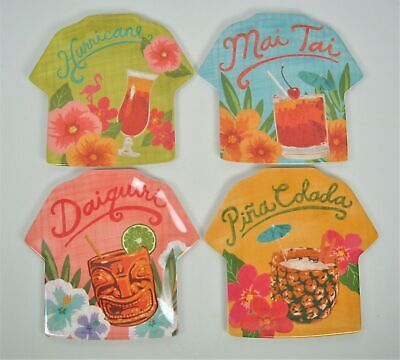 Tropical Plates (Tommy Bahama Melamine Set 4 Appetizer Snack Plates Tropical Tiki Cocktail)