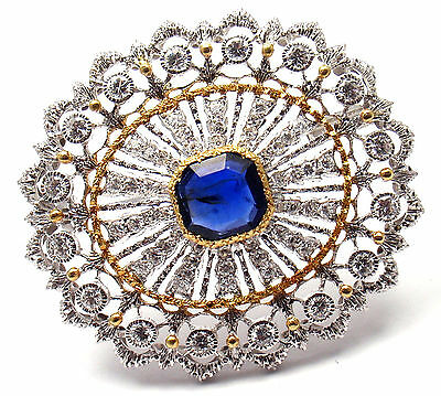Authentic! Buccellati 18k Yellow & White Gold 68 Diamonds Sapphire Brooch Pin