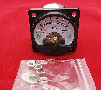 1pc Dc 0-10ma Analog Ammeter Panel Amp Current Meter So45 Cutout 45mm