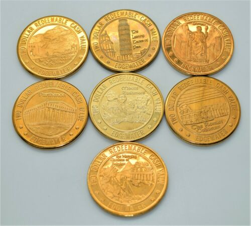 Casino Token - Set of 7 Edgewater $2 Tokens Laughlin Nevada Wonders of The World