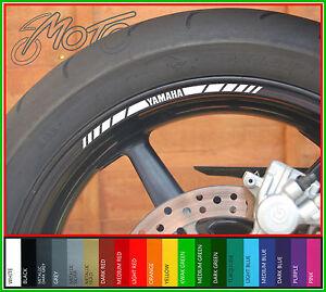 8 x YAMAHA wheel rim decals stickers - mt09 mt07 mt01 mt125 mt rd r1 r6 yz ybr