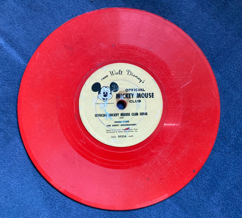 """Vintage Disneyland Mickey Mouse Club 78 RPM 6"""" Record , OFFICIAL CLUB SONG D222A"""