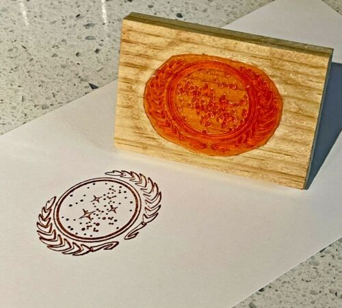Star Trek United Federation of  Planets Rubber Stamp Handmade, One of a Kind New