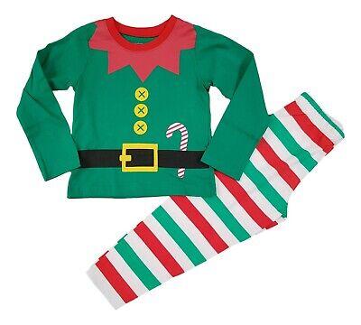 Boys Kids Christmas Xmas Elf PJs Pyjamas Outfit Costume Long PJ Gift Cotton NEW
