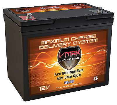 Vmax Mr107 12V Agm Deep Cycle Battery Ideal For Minn Kota  Other Trolling Motor