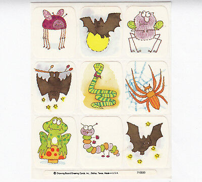 Vintage Halloween Drawing Board Greetings DBGCI Bat Spider Snake Sticker Sheet