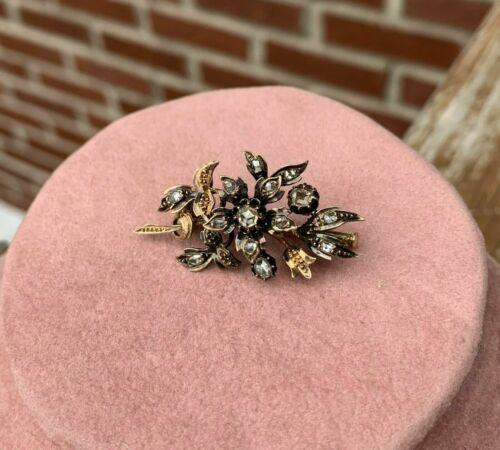 VICTORIAN ERA VINTAGE 2.10 CTW ROSE CUT DIAMOND 925 SILVER BROOCH PIN FOR WOMEN