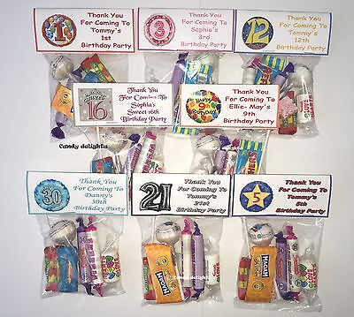 Personalized 40th Birthday Favors (30 Personalised Sweet Bag WRAPPERS Birthday Party Favours 40th 50th 60th 70th)