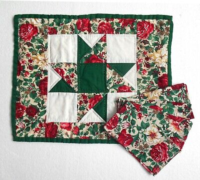 Set of 6 Vintage Straw Placemats with Floral Ruffle Trim and Matching Napkins