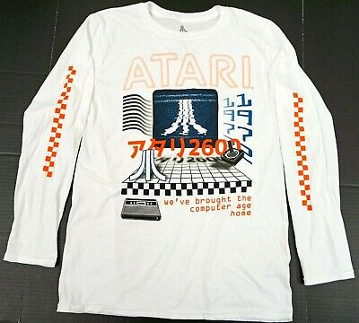 ATARI Long Sleeve T-shirt Retro Video Game Tee Adult/Mens LARGE White New
