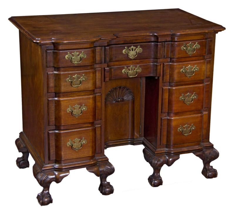 SWC-Fine Chippendale style Carved Mahogany Blockfront Kneehole Desk
