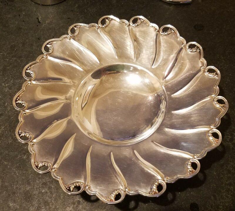 "Italian 800 Silver 12"" Footed Platter Palermo By Silversmith BONURA & CUSIMANO"