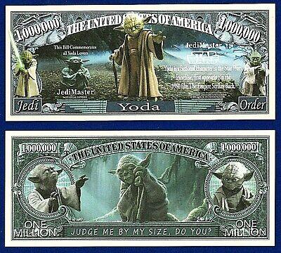 1- Yoda  Master Jedi Star Wars Dollar Bill  Movie Fun Gift Play  Money K4](Star Wars Novelty Gifts)