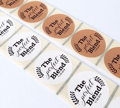 - 45MM WHITE OR KRAFT ROUND PERSONALISED THE PERFECT BLEND WEDDING LABELS COFFEE