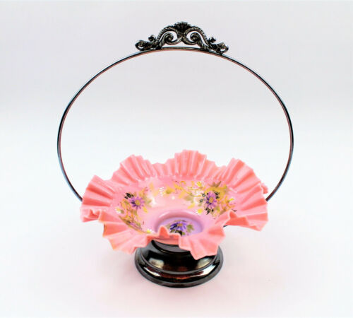 ANTIQUE VICTORIAN BRIDAL BASKET HAND PAINTED RUFFLED PINK GLASS