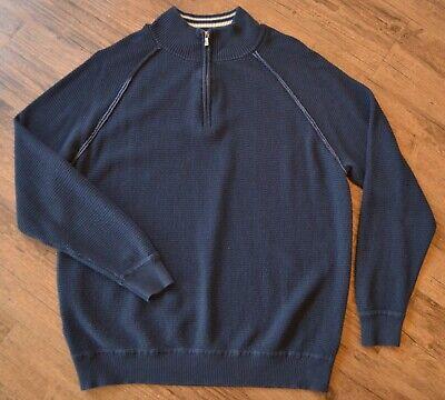 Half Zip Thermal (Tommy Bahama Mens Medium Navy Cotton Blend Half Zip Pullover Thermal Sweatshirt)