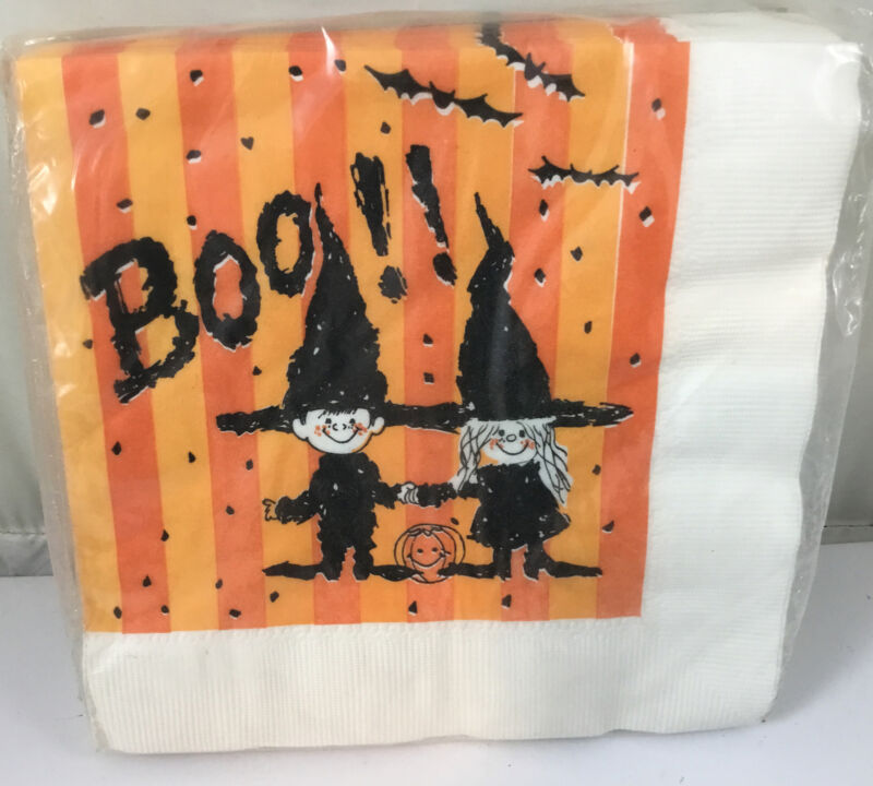 Vintage NOS Futura Boo Baby Witches Halloween Paper Napkins 1 Package